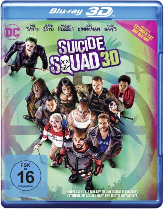 Suicide Squad (2016) (Extended Cut, Kinoversion, Blu-ray 3D + Blu-ray)