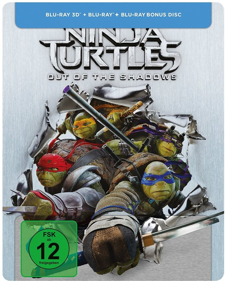 Teenage Mutant Ninja Turtles 2 - Out Of The Shadows (2016) (Limited Steelbook, Blu-ray 3D + 2 Blu-rays)